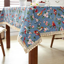 Svetanya Leinwand Esstisch Schreibtisch Abdeckung Kaffeetischdecken mit Blumenmuster