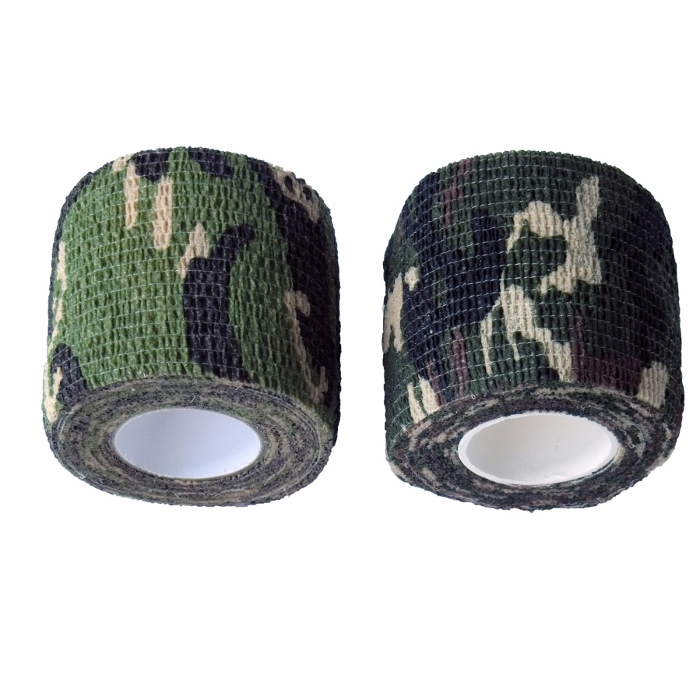 10Pcs Roll Self-adhesive Elastic Camouflage Bandage Wrap Stealth Tape Outdoor