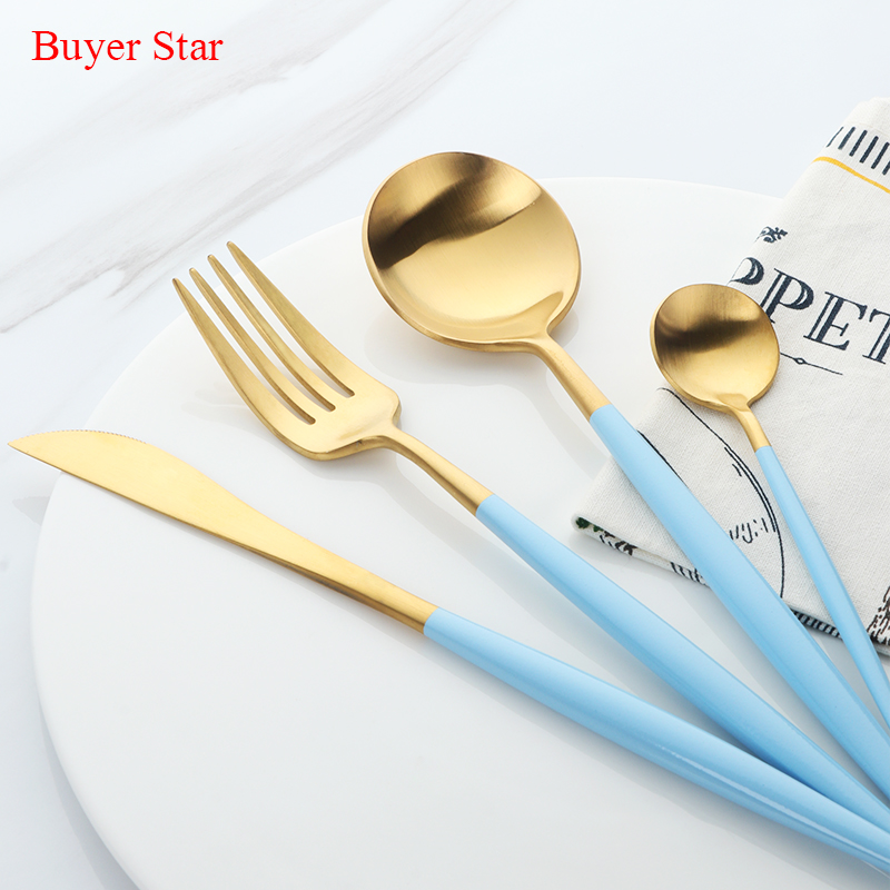 24Pcs Blue Gold Cutlery Set Stainless Steel Western Food Tableware Sets Fork Knife Dinnerware Set Drop Shipping24Pcs Blue Gold Cutlery Set Stainless Steel Western Food Tableware Sets Fork Knife Dinnerware Set Drop Shipping