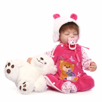 Nicery 20-22inch 50-55cm Bebe Reborn Doll Soft Silicone Boy Girl Toy Reborn Baby Doll Gift for Children Pink Bear Eyes Close