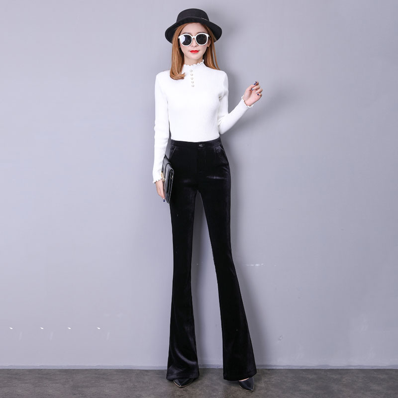 Bottoms Women's Clothing 2018 Autumn And Winter New Gold Velvet Wide-leg Pants Women Thick High Waist Drop Loose Micro-straight Pants