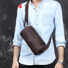 AETOO Retro casual head cowhide shoulder crossbody bag male leather barrel pack Crazy Horse Leather bag