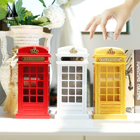 Creative Wooden Piggy Bank Large London Phone Booth Coin Saving Pot Box Children Gift England Home Furnishing Ornaments 21*10CM
