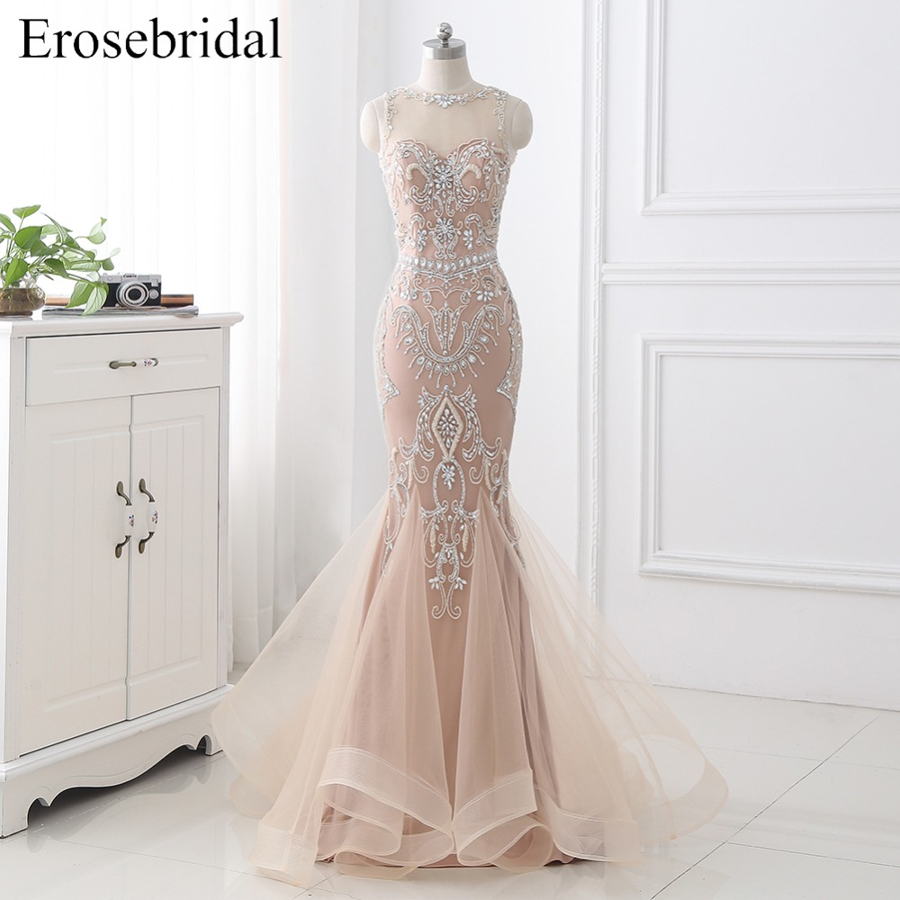 2019 Autumn   Evening     Dress   Mermaid Long Prom Party Gown Bodice Beading Zipper Contrast Color Vestido De Festa Sleeveless ZLR010