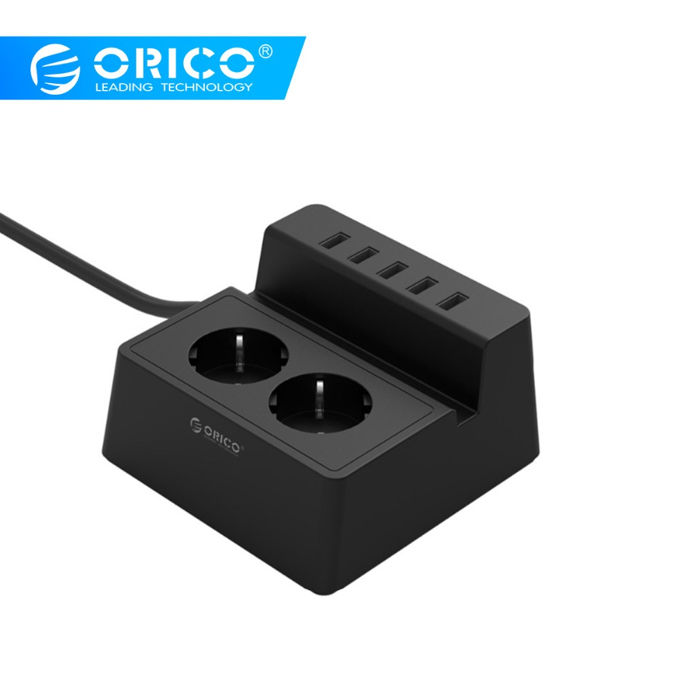 ORICO ODC Updated Office Home 2 AC EU Power Strip with 5 Ports USB Charger for iPhone/iPad Home Appliances-Black/WhiteORICO ODC Updated Office Home 2 AC EU Power Strip with 5 Ports USB Charger for iPhone/iPad Home Appliances-Black/White