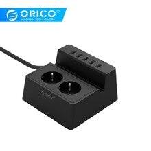 ORICO ODC zaktualizowany Office Home 2 AC EU listwa zasilająca z 5 portami ładowarka USB do urządzeń domowych iPhone/iPad czarny/biały