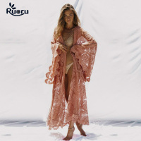 Ruoru Tunics Women Big Size Sexy See Through Blouses Shirt Floor Length Hollow Out Lace Crochet Pink Maxi Kimono Cardigan Beach
