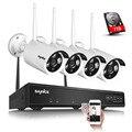 Sannce p2p plug and play sem fio 4ch nvr kit 720 p hd Visão Nocturna do IR ao ar livre Sistema de Câmera De Segurança IP WI-FI CCTV 1 TB HDD