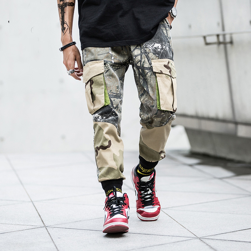 New 2018 Autumn Fashion Mens Jogger Cargo Pants Male Big Pockets Sweatpants Camouflage Desert Camo Streetwear Tactical Trousers