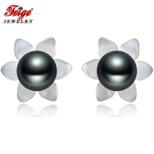 FEIGE 6-7mm Black Freshwater Pearls 925 Sterling Silver Stud Earrings For Womens Exclusive Design Shell Carvings Fine Jewelry