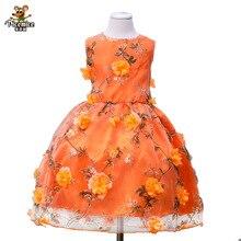 цена на Girls Princess Flower Kids Dress Summer Classic Dress Pink Orange Sleeveless O-Neck Bow Appliques Pattern Lace 2-12 Year Dresses