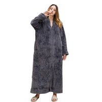 Lovers Cozy zip up Long dressing gown Bath robe housecoat Fleece Dressing Gown Robe for women TOWELLING BATH ROBE Flannel Robes