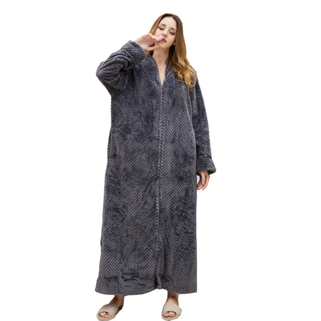 0f6be5cb43 Lovers Cozy zip up Long dressing gown Bath robe housecoat Fleece Dressing  Gown Robe for women TOWELLING BATH ROBE Flannel Robes