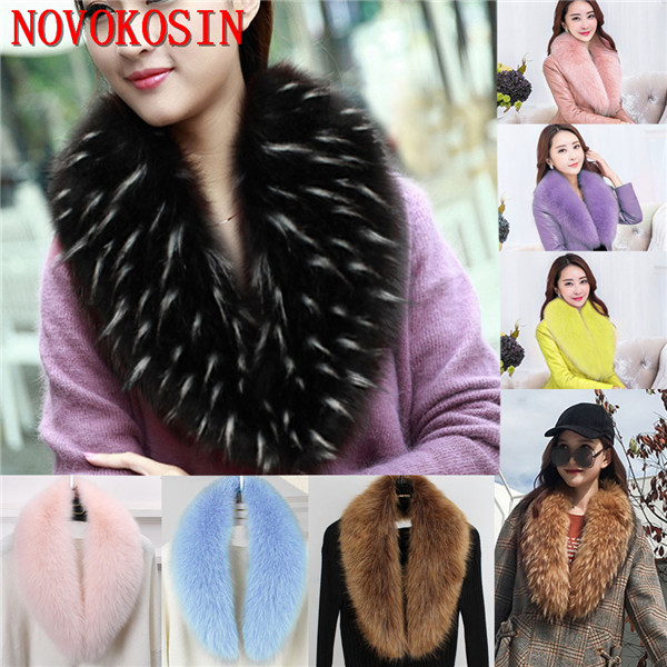 2018 New Fashion Women High Quality Hang Dye Fur Warm Ring Autumn Multicolor Shawl Winter Faux Fur Detachable Collar
