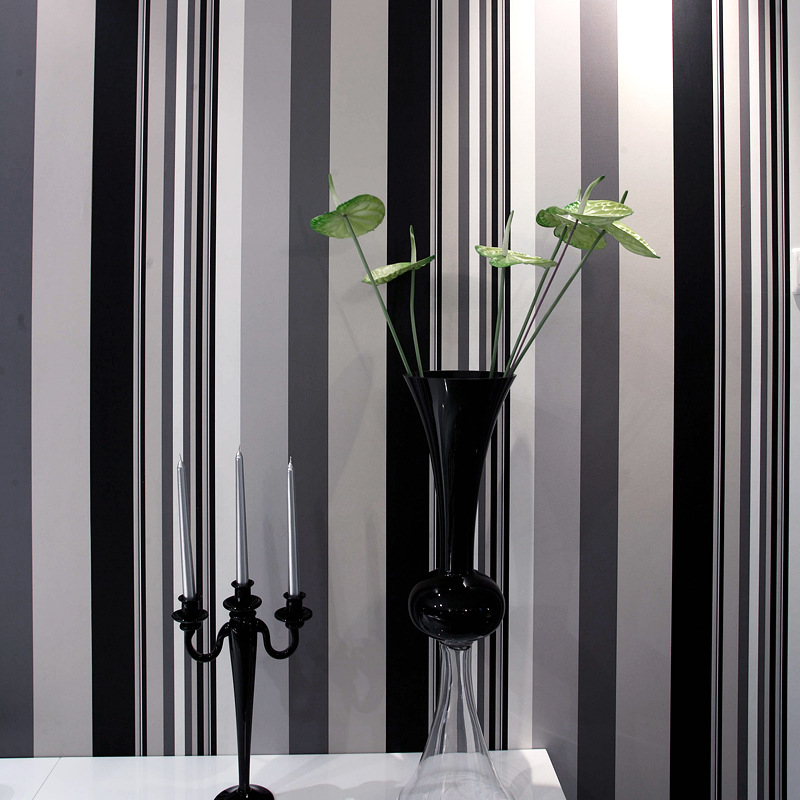Since the sticky wallpaper Black and white striped wallpaper Non-woven paper flocking The sitting room the bedroom the oldest dead white euroean males and