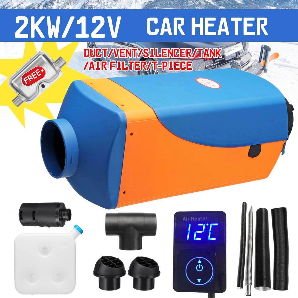 HCalory 2KW 12V Car Fuel Heater Parking Warmer Free Silencer Kit Digital Knob Camping Travel Skiing Driving Home Truck MotorhomeHCalory 2KW 12V Car Fuel Heater Parking Warmer Free Silencer Kit Digital Knob Camping Travel Skiing Driving Home Truck Motorhome