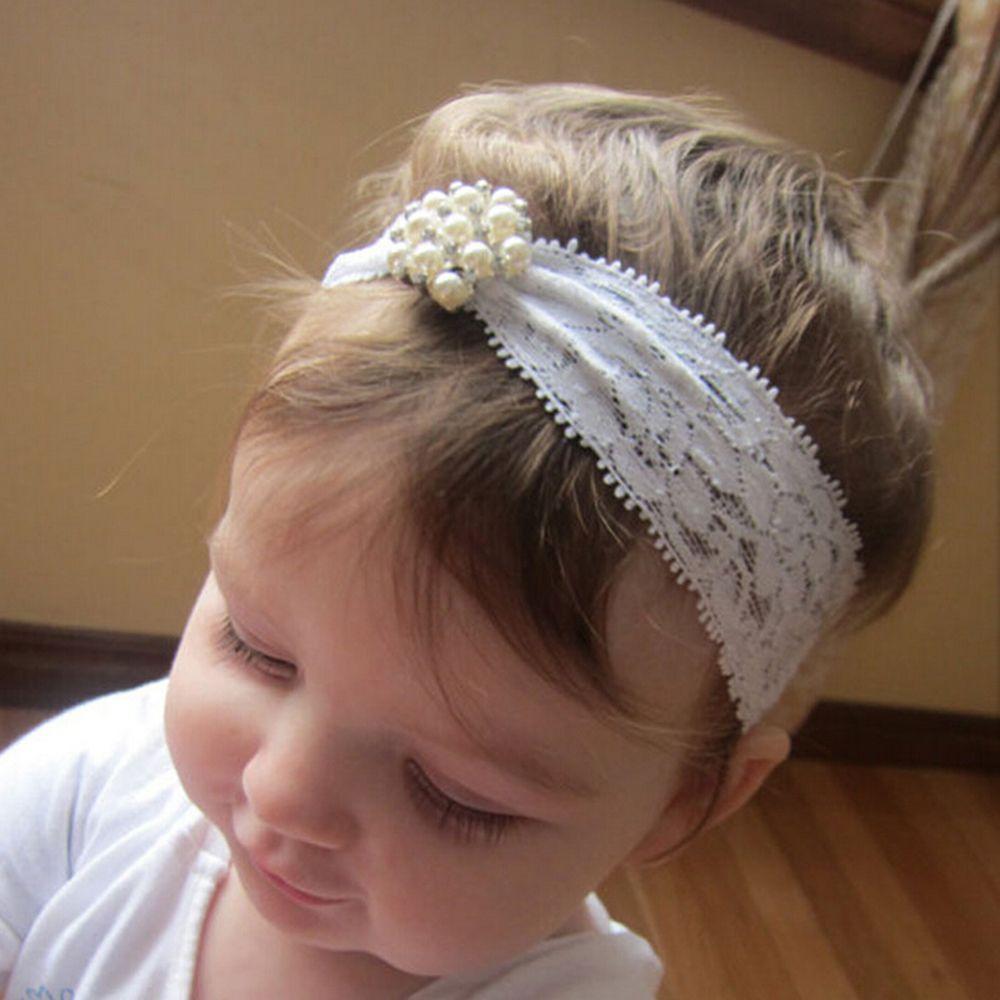 Baby Girl Bow Headband Rhinestone Pearl Elastic Newborn Wedding Christening