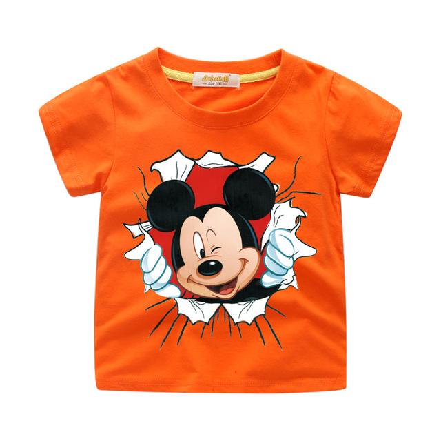 New Arrivals Children Cartoon Mickey Print T-shirt Boy Girl 3D Funny Tee Tops Clothes For Kids Summer Short Tshirt Costume WJ064