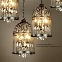 Black retro crystal bird cage pendant lamp Restaurant Bar Coffee Shop lampen industrieel maria theresa crystal chandelier