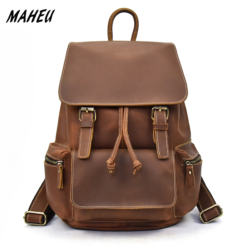 Casual Men Genuine Leather Shoulder Bag Backpack High Quality Crazy Horse Leather European Style Travel Rucksack School BagCasual Men Genuine Leather Shoulder Bag Backpack High Quality Crazy Horse Leather European Style Travel Rucksack School Bag
