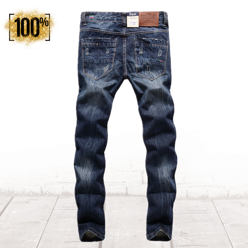 100% Limited Collection Mens Dark Jeans Uomo Ripped Denim Pants High Quality Brand Clothing Mid Stripe Slim Fit Jeans Men R988