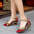 Designer Summer Womens Rose Pumps Sale Embroidery Sheepskin Ladies Mary Janes Luxurious Handmade Women Ankle Strap Wedding Shoes