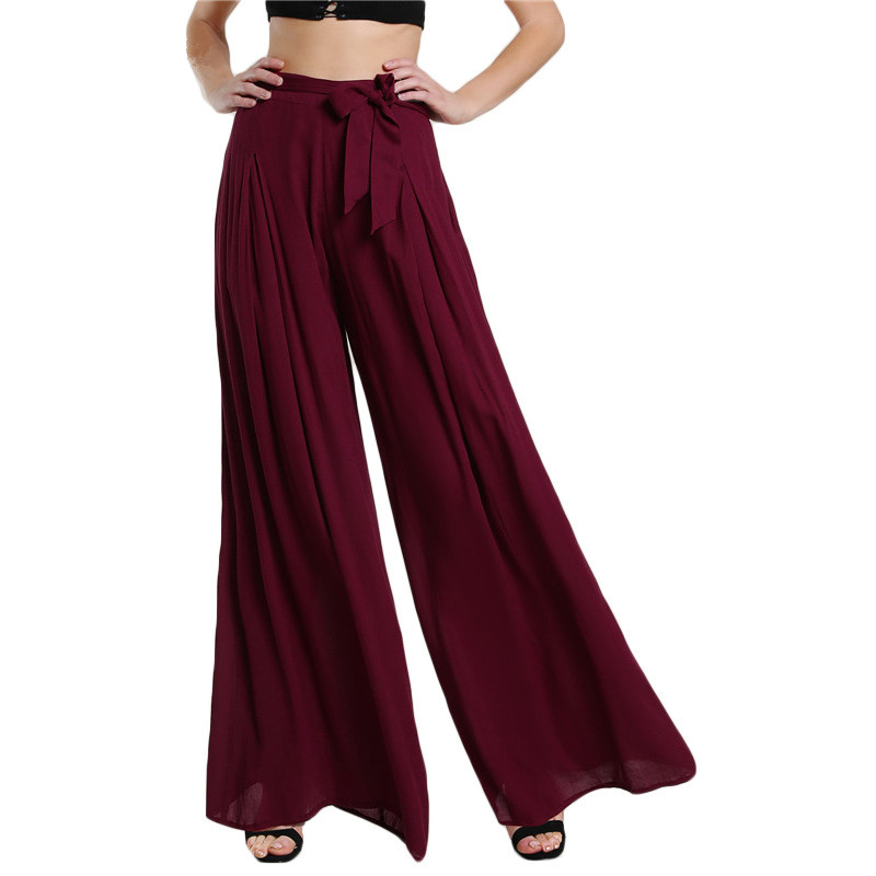 Self Tie Fold Pleated Palazzo   Pants   Women Bottoms 2018 Women Casual   Pants   Burgundy Mid Waist   Wide     Leg     Pants