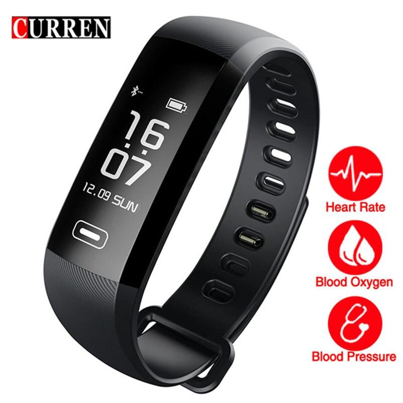 CURREN blood pressure heart rate monitor Blood oxygen 50 Letter message push large smart Fitness Bracelet Watch intelligent R5
