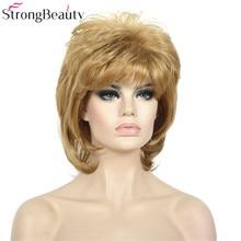 Fuerte belleza pelo sintético recto corto pelucas mujeres sin tapa peluca