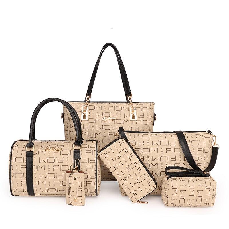 6Pcs/Set  Letters Ladies Bags Shoulder Bag Set Women Handbag Womens Shopper Clutch Woman Leather Tote Purses