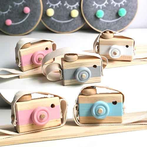 Cute Nordic Hanging Wooden Camera Toys Kids Toys Gift 9.5X6X3cm Room Decor Furnishing Articles Christmas Gift Wooden Toy