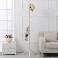 8 Hooks Solid Wooden Coat Stand Hat Shelf Scarves Rack Living Room Furniture