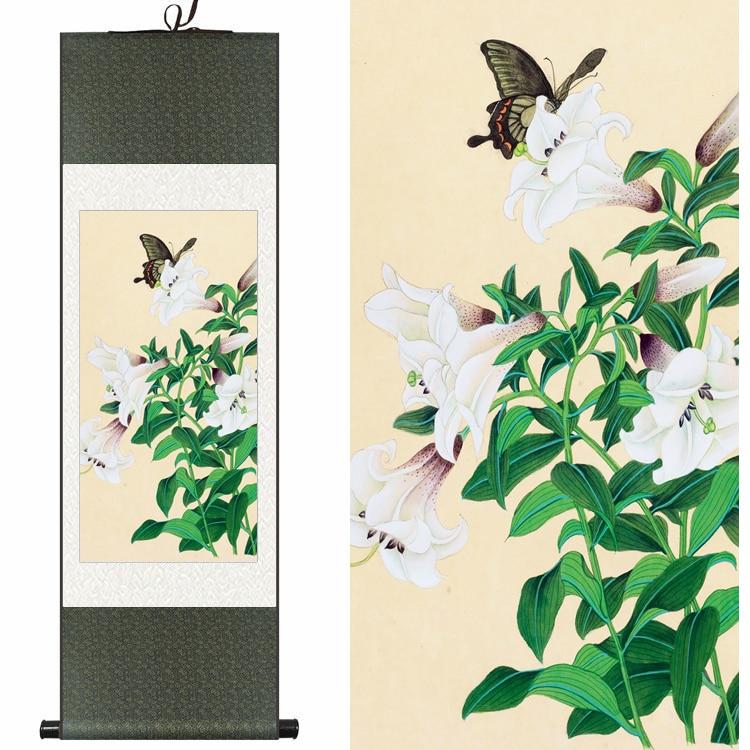 Soie chinoise aquarelle originale fleur et oiseau papillon blanc lys encre art toile mur photo damassé encadré défilement peinture
