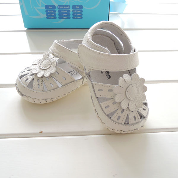 2017 Summer Style Baby Shoes Genuine Leather White Flower Fretwork Girls First Walkers Soft Non-slip Toddler Shoes