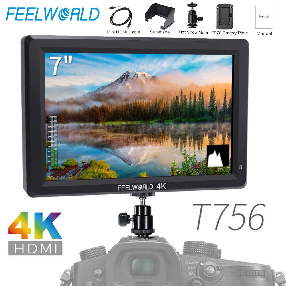 Feelworld T756 7 Inch IPS On Camera Field Monitor DSLR 4K HDMI Full HD 1920x1200 Portable LCD Monitor For Nikon Sony Etc Cameras
