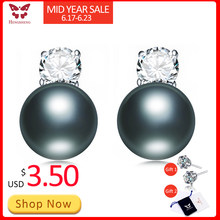 2019 New Punk Black Pearl Stud Earrings for fine women jewerly Top Quality CZ Strong light Black Earrings, AAAA Freshwater Pearl(China)