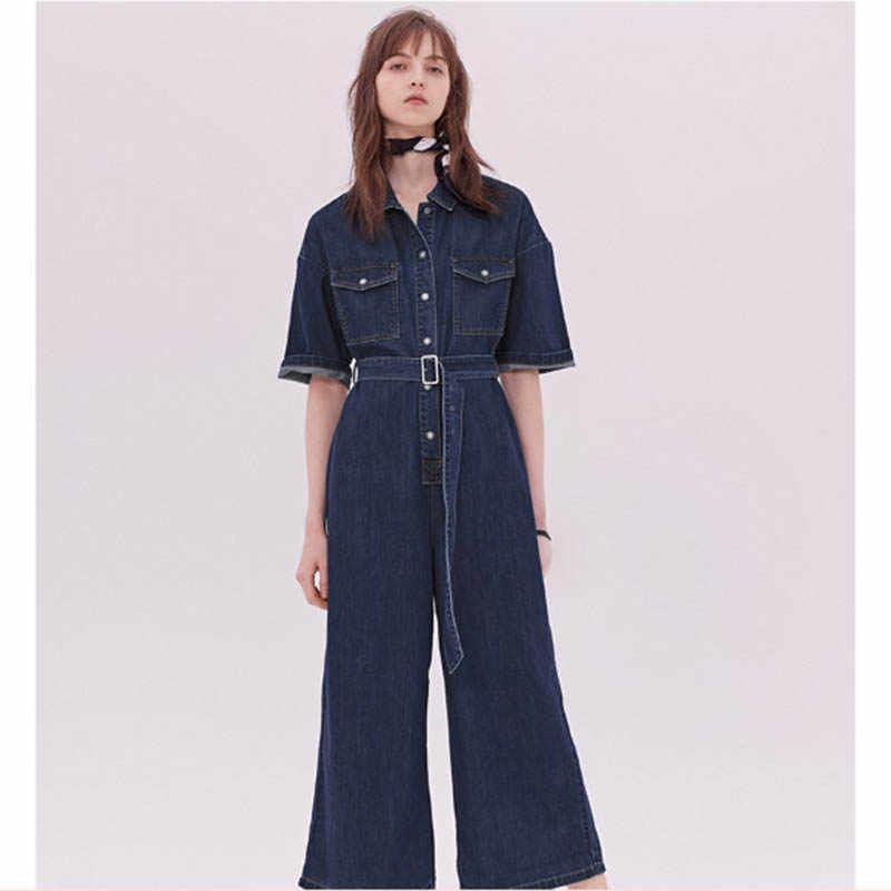 Летний сексуальный джинсовый женский комбинезон длинный рукав ремень осенние джинсы комбинезон женский 2019 уличная одежда Комбинезоны
