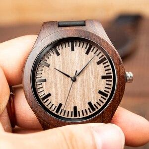 Image 2 - Marca superior bobo pássaro relógio de luxo masculino masculino relógios de madeira preta quartzo relógio de pulso banda couro macio oem C F08