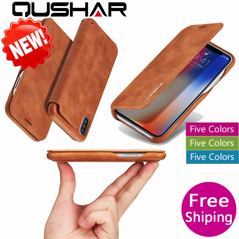 Retro Caso For iPhone Xs Max XR Flip Stand PU Card Cover Luxury Business Leather Wallet For iPhone 8 7 Plus 6 6S Plus Phone Case