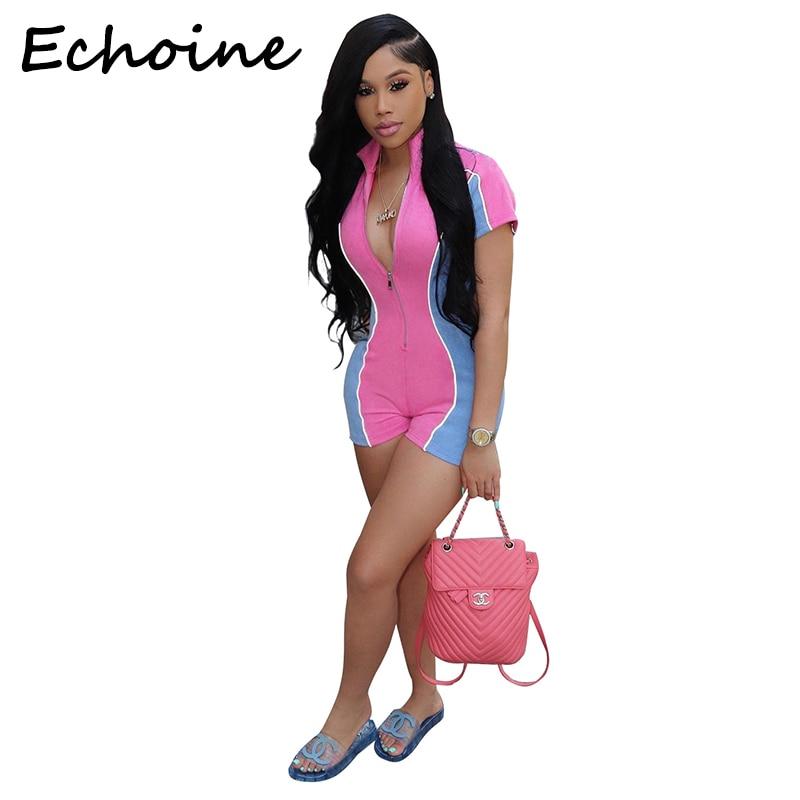 Echoine Sexy Bodysuit Reflective Night Version Color Patchwork Zipper Short Rompers Womens Jumpsuit Overalls For Women