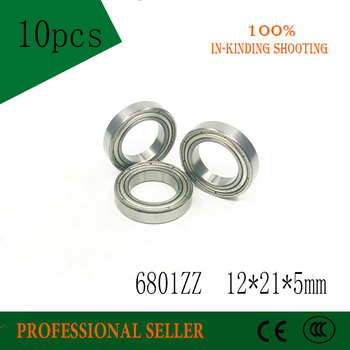 10pcs/Lot 6801ZZ 6801 ZZ 12x21x5mm Metal Shielded Thin Wall Deep Groove Ball Bearing image