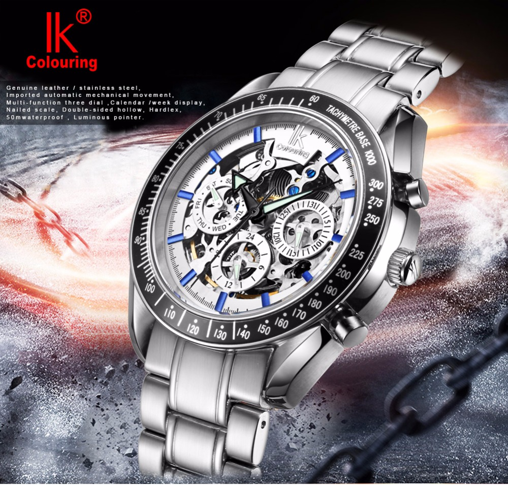ФОТО IK Colouring Brand Luxury Stainless Steel Automatic Mechanical Watches Auto Date Day Men Skeleton relogio masculino esportivo