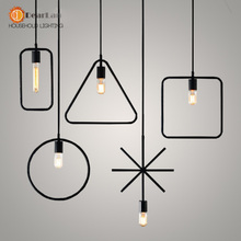 Free Shipping One Sample Order New Style Geometrical Figure Simple Iron Black Finished Pendant Lamps(DK-60)