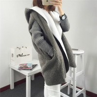 2017 New Autumn Winter Women Knitted Sweater Women Long Hooded Lambswool Patchwork Loose Oversize Cardigans Outwear