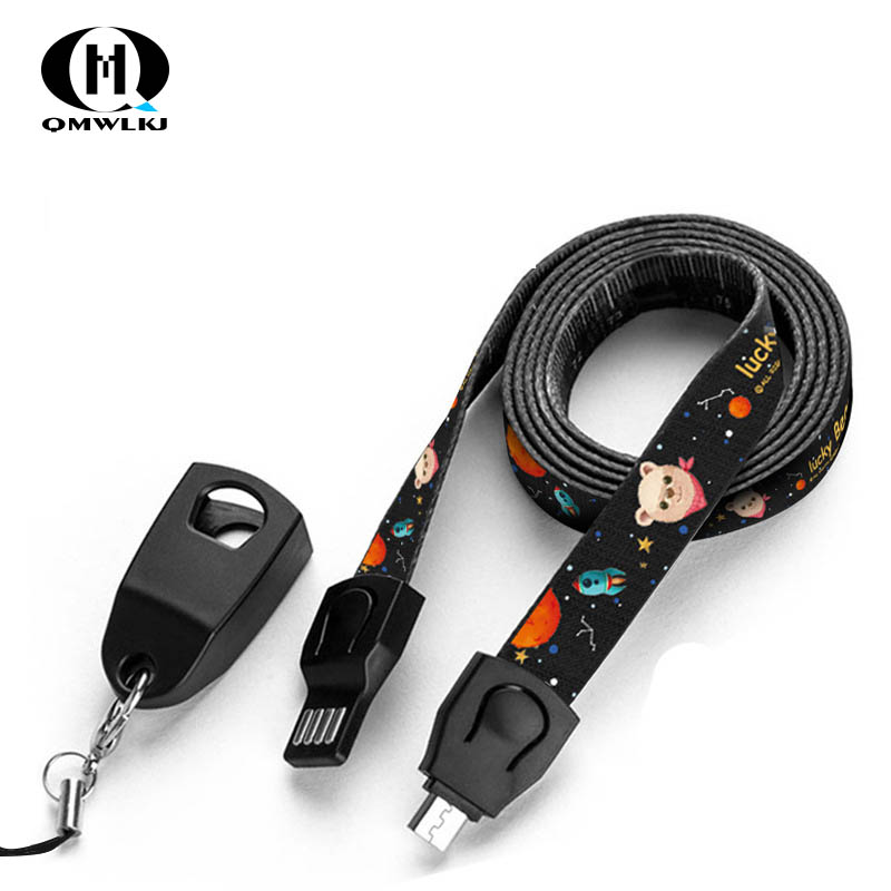 Lanyard Data Cable Fast Micro USB Data Cable Charger Neck Lanyard weaving USB Work Card Key Chain For iPhone X Xs Max charging in Mobile Phone Cables from Cellphones Telecommunications