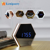 LumiParty Multifunctional LED Digital Alarm Clock Night Light Thermometer Display Mirror Touch Sensing Table Lamp Travel