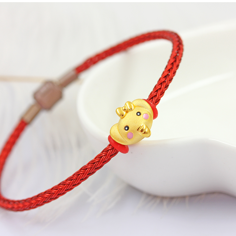 Pure 999 24k Yellow Gold Pendant 3D Luck Loving Elegant Color For Women Men Baby Red Knitted Black Rope Weaving Bracelet 0.9-1gPure 999 24k Yellow Gold Pendant 3D Luck Loving Elegant Color For Women Men Baby Red Knitted Black Rope Weaving Bracelet 0.9-1g