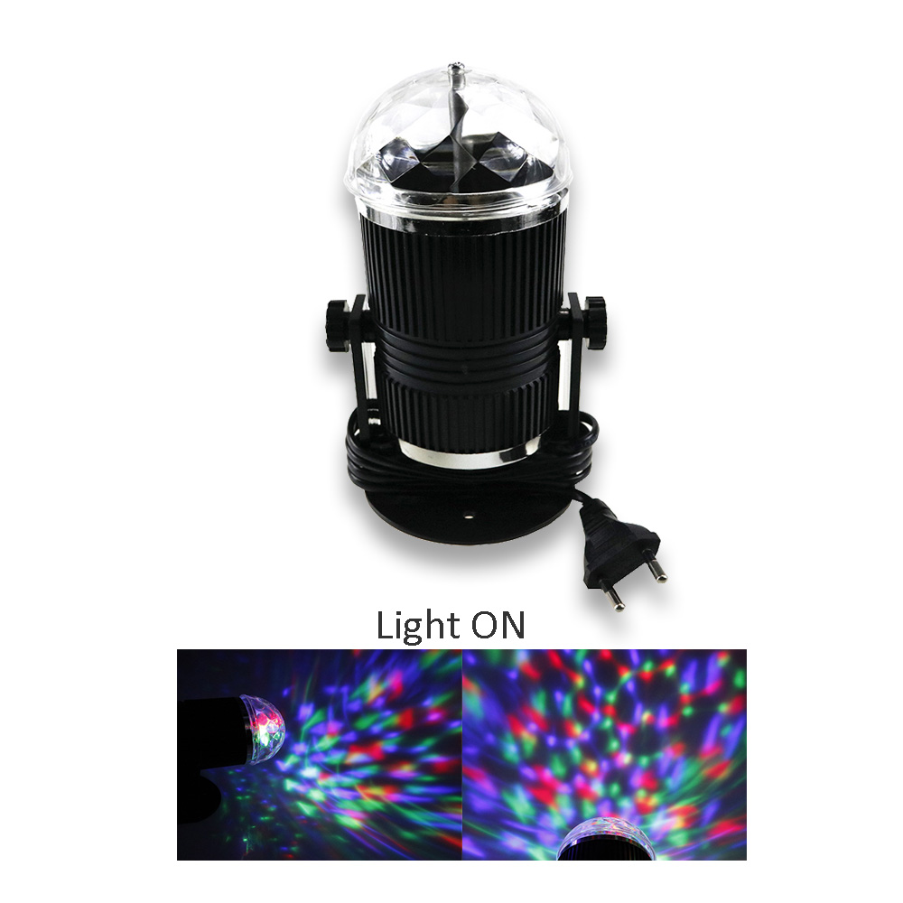 Voice Control RGB LED Stage Light Porfessional Disco Ball Auto Rotating Crystal Magic Lighting Sound Activated JQ