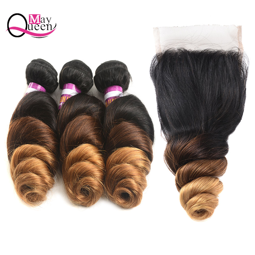 May Queen Hair Peruvian Loose Wave Hair Weave Bundles Deals 100% Human Hair Remy Hair Extension Ombre 1B/4/30 Three Tone Color