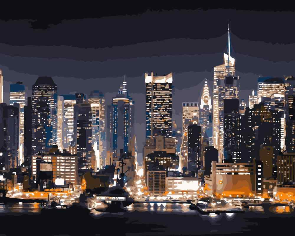 Mahuaf J189 Manhattan New York City Night Paintings By Numbers With Acrylic Paints For Home Decor Painting By Numbers Painting Numbersnew York Aliexpress